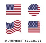 set 4 flags of united states | Shutterstock .eps vector #612636791