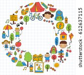 summer camp children  kids... | Shutterstock .eps vector #612637115