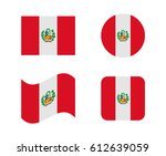 set 4 flags of peru | Shutterstock .eps vector #612639059