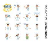 set of nurse emoticons showing... | Shutterstock .eps vector #612641951
