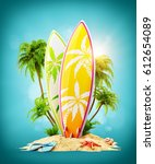 surf boards on paradise island... | Shutterstock . vector #612654089