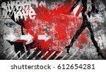 modern teenage girl on grunge... | Shutterstock . vector #612654281