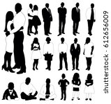 collection of black and white... | Shutterstock .eps vector #612656009