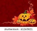 halloween pumpkin on the autumn ... | Shutterstock .eps vector #61265821
