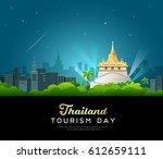 thailand tourist landmarks... | Shutterstock .eps vector #612659111