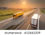 new trucks driving towards the... | Shutterstock . vector #612662339