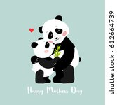 mother panda and baby hugging ... | Shutterstock .eps vector #612664739