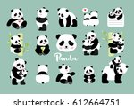 set of panda figures  isolated... | Shutterstock .eps vector #612664751