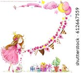 Stock photo cute princess birthday background greeting card for kids watercolor illustration 612667559