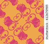 colorful hand drawn floral... | Shutterstock .eps vector #612670985