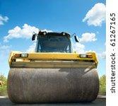 orange road roller on repairing ...   Shutterstock . vector #61267165