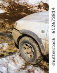 4x4 white car with mud | Shutterstock . vector #612673814