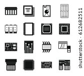computer chips icons set.... | Shutterstock .eps vector #612682511