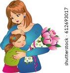 mother hugs her little daughter ... | Shutterstock . vector #612693017