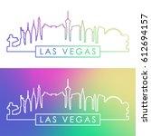 las vegas skyline. colorful... | Shutterstock .eps vector #612694157