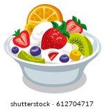 illustration of fruit salad... | Shutterstock .eps vector #612704717