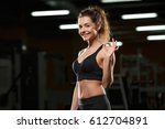 image of happy sports lady... | Shutterstock . vector #612704891