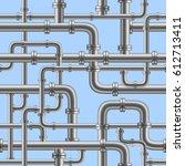 chrome pipe seamless on blue... | Shutterstock .eps vector #612713411