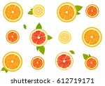 seamless pattern of citrus... | Shutterstock .eps vector #612719171