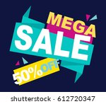 super sale vector banner.  50... | Shutterstock .eps vector #612720347