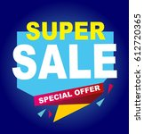 super sale vector banner.  50... | Shutterstock .eps vector #612720365