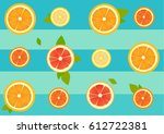 seamless pattern of citrus... | Shutterstock .eps vector #612722381