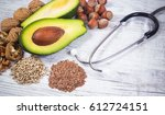 sources of omega 3 fatty acids  ... | Shutterstock . vector #612724151