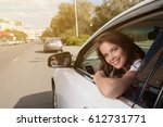 young happy smiling woman... | Shutterstock . vector #612731771