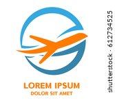 airplane   vector logo template ... | Shutterstock .eps vector #612734525