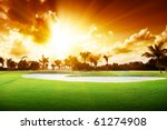 sunset on golf field | Shutterstock . vector #61274908