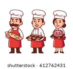 cartoon baker characters set in ... | Shutterstock . vector #612762431