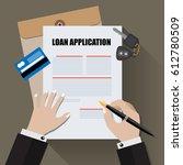 loan application with car key... | Shutterstock .eps vector #612780509