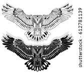 eagle flying on white... | Shutterstock . vector #612781139
