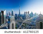 amazing dubai skyline at the... | Shutterstock . vector #612783125