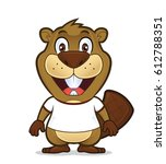 beaver wearing a white t shirt | Shutterstock .eps vector #612788351