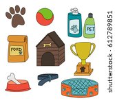 set of dog accessories isolated ... | Shutterstock .eps vector #612789851