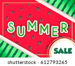 happy summer watermelon... | Shutterstock .eps vector #612793265