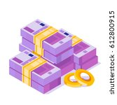 pile of euro. isometric euro... | Shutterstock .eps vector #612800915