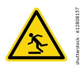 beware uneven floor sign ... | Shutterstock .eps vector #612808157