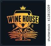 vector yellow orange wine logo... | Shutterstock .eps vector #612813209