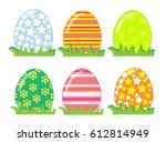 easter eggs spring colorful... | Shutterstock .eps vector #612814949