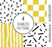 set of seamless patterns. hand... | Shutterstock .eps vector #612816209