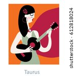 taurus woman horoscope sign as... | Shutterstock .eps vector #612818024