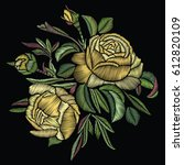 embroidered bouquet. yellow... | Shutterstock .eps vector #612820109