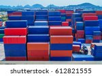 container container ship in... | Shutterstock . vector #612821555