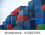 container ship in export and... | Shutterstock . vector #612821591