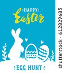vector easter poster with cute... | Shutterstock .eps vector #612829685