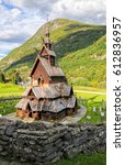 Borgund stave wooden church in Western Norway at sunny summer day - stock photo