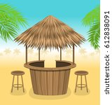 illustration beach bar thatch.... | Shutterstock .eps vector #612838091