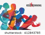 running people set of... | Shutterstock .eps vector #612843785